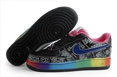 Air Force 1 25th Low Nike Shoes Womens Black White Priting