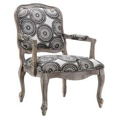 """A timeless addition to your living room or master suite, this charming arm chair showcases an upholstered medallion motif and cabriole legs.  Product: ChairConstruction Material: Wood and fabricColor: Grey and walnut  Features: Medallion motifCabriole legsGlaze finish  Dimensions: 31.25"""" H x 39.38"""" W x 26.5"""" D"""
