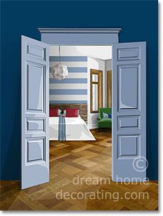 Bedroom color schemes for five bedroom styles: Classic, Seventies, Victorian, Nautical or Romantic bedroom wall color ideas. Bedroom Wall Colors, Bedroom Color Schemes, Striped Walls, Green Accents, Bedroom Styles, Red Green, Tall Cabinet Storage, Pirates, Nautical