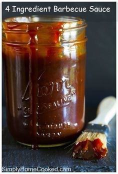 An easy 4 ingredient barbecue sauce that goes well with practically any meat. Honey Barbeque Sauce, Easy Bbq Sauce, Homemade Bbq Sauce Recipe, Barbecue Sauce Recipes, Bbq Sauces, Rib Sauce Recipe Easy, Honey Bbq Sauce Recipe, Homemade Spices, Homemade Seasonings