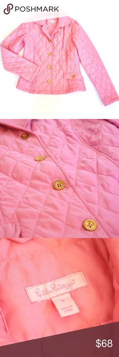 Lilly Pulitzer Pink Quilted Jacket Lovely Lilly Pulitzer pink coat. Size 4. Preowned but in good condition. Soft quilted material. Long sleeves, button front with pockets. Slight tarnishing on metal hardware. Pretty firm on price right now! Lilly Pulitzer Jackets & Coats