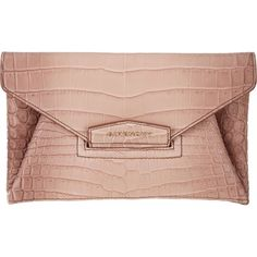 Givenchy Crocodile Small Antigona Envelope Clutch ($5,189) ❤ liked on Polyvore featuring bags, handbags, clutches, accessories, givenchy, sacs, pink, flap purse, metal purse and givenchy purse