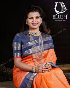 Beautiful orange kanjeevaram saree with contrast blue blouse by mugdha art studio Saree Blouse Neck Designs, Fancy Blouse Designs, Kurta Designs, Gold Designs, Designer Silk Sarees, Indian Designer Wear, Corsage, Stylish Blouse Design, Trendy Sarees