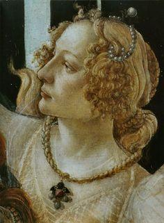 Sandro BOTTICELLI  La Primavera dettaglio delle Tre Grazie, forse il viso di Luisa de' Medici o Simonetta Vespucci, 1482 circa. Uffizi, Firenze