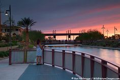 Sunset at Scottsdale Waterfront in downtown Scottsdale, AZ
