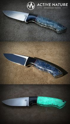 Active Nature - Handmade Knives Outdoor Knife made from with Micarta and Raffir Blue Uranium Spikey SFX handle. Outdoor Knife, Handmade Knives, Knife Making, Kitchen Knives, Handle, Nature, Blue, Japanese Kitchen Knives, Knifes