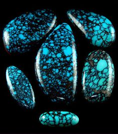 Blue Wind Spiderweb Turquoise is some of the finest Spiderweb Turquoise produced in North America. Located near the Lander Blue Mine, this type of Turquoise was much harder and a finer grade of Spiderweb Turquoise.