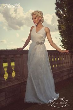 Matilda Wedding Dress Back Illusion Lace V Neck