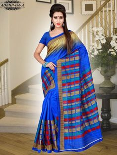 Blue Colour Bhagalpuri Art SilkSaree With Unstitched Blouse - Silk - Shop By Fabric - Sarees