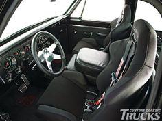 1969 Chevrolet C10 - Overhauler Chevy C10, Chevrolet S 10, 67 72 Chevy Truck, Truck Mods, Dodge Trucks, Truck Interior, Interior Ideas, Bucket Seats, Classic Interior