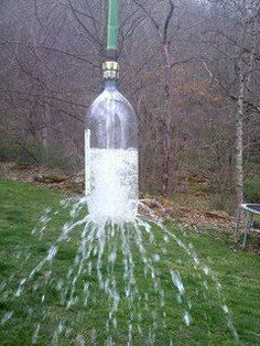 take a 2 liter soda bottle, poke holes in it. attatch to a garden hose. toss over a tree branch and let hang for a kids water sprinkler. wonderful idea.