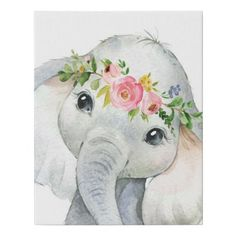 Shop Watercolor Boho Elephant Canvas Wall Art Print created by CottageMoonDesign. Elephant Nursery Art, Baby Animal Nursery, Elephant Crafts, Elephant Elephant, Elephant Tattoos, Cute Canvas Paintings, Elephant Paintings, Elephant Canvas Painting, Nursery Paintings