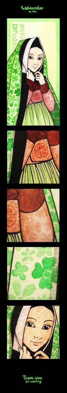 Korean lady wearing hanbok, watercolor by Koko Nax (on Behance) Nax illustration, kokonax (Naver blog :  http://blog.naver.com/kokonax ) Follow : https://www.facebook.com/naxillustration and https://www.behance.net/kokonax