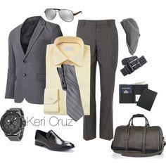 Men's Business Trip by keri-cruz on Polyvore featuring Royce Leather, Armani Exchange, Prada, River Island, ETON, Marc and Stetson