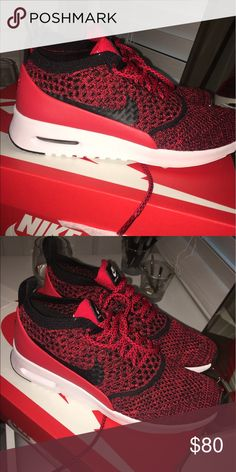 Nike Air Max Thea Flyknit Black, red and white. BRAND NEW!! Only worn once, nothing wrong with them I just don't like them anymore! Nike Shoes Athletic Shoes