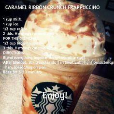 DIY caramel ribbon crunch the hubs! Starbucks Frappuccino, Secret Starbucks Drinks, Starbucks Caramel, Starbucks Coffee, Dessert Drinks, Yummy Drinks, Dessert Recipes, Yummy Food, Smoothie Drinks