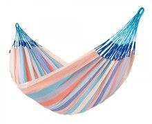 The beautiful and weatherproof family sized hammock DOMINGO model, dolphin color offers plenty of room to relax in your backyard. It is engineered with a weatherproof, fast-drying material called HamacTex® that you can leave out all season.