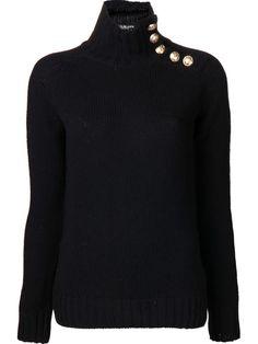 BALMAIN funnel neck button detail sweater