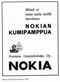 Nokia. Mainos Poliisimies -lehdessä 1932.