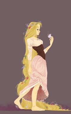 I couldn't figure out if it was Aurora or Rapunzel. It looks like Auroras dress but with Rapunzels hair.