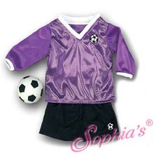 """A purple soccer outfit that fits 18"""" american girl dolls. Use special discount code PIN10"""