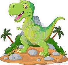 Desenhos animados bonitos do tiranossauro dos desenhos animados