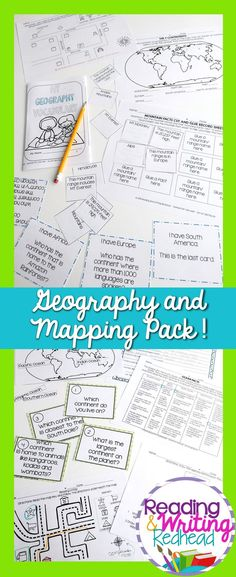 Over 77 pages of geography and mapping activities! Map practice, vocabulary, task cards and more to help your students (and you)! Geography Map, World Geography, Map Activities, Classroom Activities, Primary School, Elementary Schools, Teaching Resources, Teaching Ideas, Mega Math
