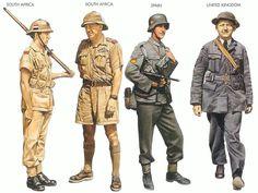 World War II Uniform Identification Key - The Phora Military Diorama, Military Art, Military History, Ww2 Uniforms, Military Uniforms, Army Uniform, Pulp, North Africa, World History
