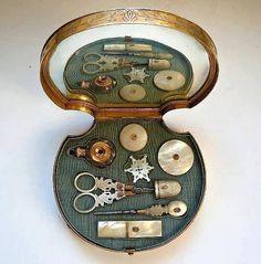 Antique Palais Royal, Sewing Tools with Box.