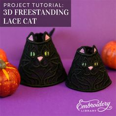 Freestanding Lace Cat tutorial from Embroidery Library Lace Embroidery, Vintage Halloween, Machine Embroidery Designs, Bucket Bag, Hoop, Sewing, Projects, Log Projects, Dressmaking