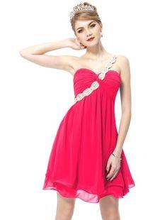 Turmec » hot pink chiffon one shoulder dress
