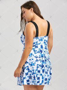 4ef06ffff4f7dc Plus Size Tie Dye Padded Slit One Piece Swimsuit - Blue Mobile