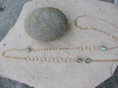 Labradorite Asymmetrical Long Gold Necklace by irisjewelrydesign, $94.00