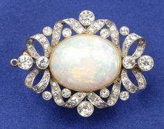 An Edwardian opal and diamond brooch