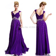 Long Elegant Couture Purple Prom Dresses Cap Sleeve Sweetheart Crystal 2015 Evening Dress Vestido de Chiffon E6159