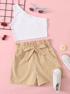 Girls Fashion Clothes, Teen Fashion Outfits, Look Fashion, Outfits For Teens, Girl Fashion, Girl Outfits, Trendy Summer Outfits, Cute Casual Outfits, Casual Shorts