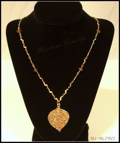 Gold plated S chain and brown bead Necklace with leaf pendant  http://MartianaJewelry.etsy.com