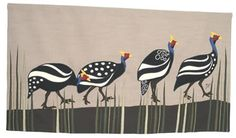4 guinea fowl in a row - wall hanging