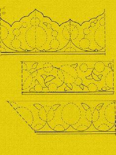 1.Şekil : Yazı kenarı süslemelerinde sık simetriyi gösteren üç örnek. 2.Şekil: 1-Yalnız yönlü hatai'lerin kullanıldığı bir düzenleme. 2-Penç ve yönlü hatai'larin kullanıldığı bir düzenleme. 3-Yönlü...