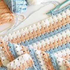 Look how lovely this stitch is! Beautiful work by @daisyfarmcrafts What would you name this stitch? It's 3dc with 3dctog stacked on top of each other, making it look triangular. • • #ilovecrochet #crochetersofinstagram #crocheting #crochet #caronsimplysoft #yarnspirations #crochetbabyblanket #grannysquare #makersgonnamake #crochetlover #peachandblue #makersmovement #crochetlove Picot Crochet, Stitch Crochet, Bag Crochet, Crochet Afgans, Love Crochet, Crochet Crafts, Crochet Stitches, Crochet Hooks, Crochet Projects