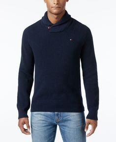 The ideal choice for those off-the-clock moments, this warm and cozy shawl-collar Harrington sweater from Tommy Hilfiger will be a fast favorite. | Cotton | Machine washable | Imported | Shawl collar