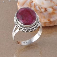 EXCLUSIVE 925 STERLING SILVER RUBY FANCY STYLE RING 6.65g DJR2555 SIZE 10 #Handmade #Ring