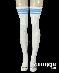 08525dba6 FIonna  Thigh High Tube Socks with Baby Blue Stripes