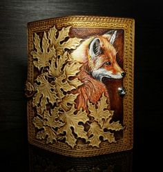 Hand-tooled leather fox wallet, carved women's wallet, tooled leather wallet with red fox and maple leaves, long wallet, fox purse Tooled Leather Purse, Leather Art, Custom Leather, Leather Design, Leather Wallet, Leather Tooling Patterns, Leather Pattern, Leather Carving, Fox Purse