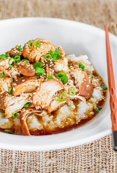 ine chicken broth, teriyaki sauce, brown sugar, soy sauce, sesame oil and garlic cloves in large bowl. Add chicken to sauce, and toss to com...