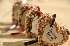 150 Bird Seed favors  hearts personalized eco by GreenDoxieEvents, $187.50