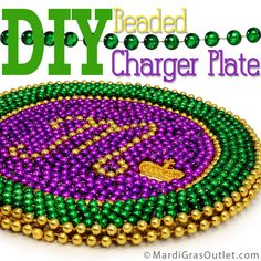 Charger Plate, DIY, Mardi Gras Beads, Bead Upcycle, Mardi Gras Decorations, Tablescape, Mardi Gras Bead Craft