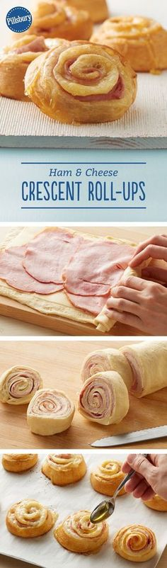 Ham and Cheese Crescent Roll-Ups These roll-ups are a great new way to enjoy ham and Swiss cheese sandwiches. Rolled up in crescent dough and finished with a drizzle of honey, these will quickly become a favorite. We think they even could pass New Recipes, Cooking Recipes, Favorite Recipes, Cheap Recipes, Budget Recipes, Cooking Videos, Cooking Tips, Mexican Recipes, Indian Recipes