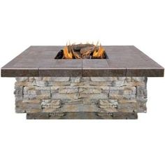 Cal Flame, 48 in. Gray Natural Stone Propane Gas Fire Pit with Log Set and Lava Rocks, FPT-S301-NS at The Home Depot - Mobile