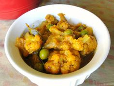 Krithi's Kitchen: Cauliflower Peas Masala - South Indian Style | Indian Curry Recipes
